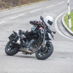 KTM 790 Duke pre production prototype front right quarter action