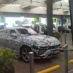 Lamborghini Urus front three quarters spy shot
