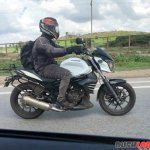 Low Cost Mahindra Mojo spied with accessories right side