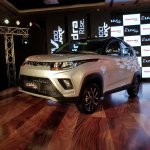 Mahindra KUV100 NXT Silver & Black front three quarters left side