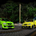 Modified Maruti Alto green and yellow front three quarters