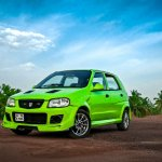 Modified Maruti Alto green front three quarters