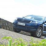 Skoda Kodiaq test drive review front three quarters low