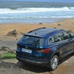 Skoda Kodiaq test drive review rear angle top