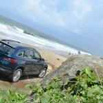 Skoda Kodiaq test drive review rear three quarters far