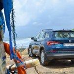 Skoda Kodiaq test drive review rear three quarters