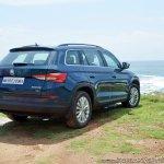 Skoda Kodiaq test drive review right rear three quarters beach