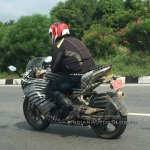 TVS Apache RR 310S spied with modified tyre hugger rear left quarter