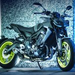 2017 Yamaha MT-09 press shot front right quarter
