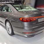 2018 Audi A8 L rear three quarters left side at 2017 Dubai Motor Show