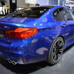 2018 BMW M5 rear three quarters right side at 2017 Dubai Motor Show