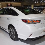 2018 Hyundai Sonata Hybrid (facelift) rear three quarters left side at 2017 Dubai Motor Show