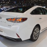 2018 Hyundai Sonata Hybrid (facelift) rear three quarters right side at 2017 Dubai Motor Show