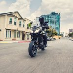 2018 Kawasaki Versys 650 Black action shot front left quarter