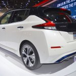 2018 Nissan Leaf rear three quarters at the 2017 Dubai Motor Show