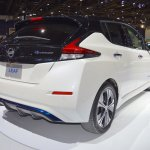 2018 Nissan Leaf rear three quarters right side at the 2017 Dubai Motor Show