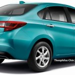 2018 Perodua Myvi sedan rendering rear three quarters peppermint green