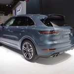 2018 Porsche Cayenne Turbo rear three quarters left side at 2017 Dubai Motor Show