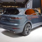 2018 Porsche Cayenne Turbo rear three quarters right side at 2017 Dubai Motor Show
