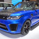 2018 Range Rover Sport SVR front three quarters left side at 2017 Dubai Motor Show