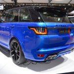 2018 Range Rover Sport SVR rear three quarters at 2017 Dubai Motor Show