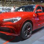 Alfa Romeo Stelvio Quadrifoglio front three quarters at 2017 Dubai Motor Show