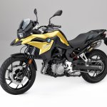 BMW F 750 GS yellow press shot front left quarter