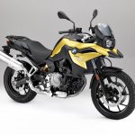 BMW F 750 GS yellow press shot front right quarter