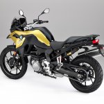 BMW F 750 GS yellow press shot rear left quarter