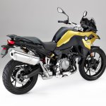 BMW F 750 GS yellow press shot rear right quarter
