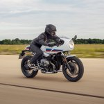 BMW R nineT Racer press action front right quarter