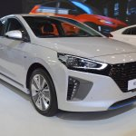 Hyundai Ioniq hybrid front three quarters at 2017 Dubai Motor Show