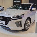 Hyundai Ioniq hybrid front three quarters left side at 2017 Dubai Motor Show