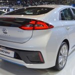 Hyundai Ioniq hybrid rear three quarters right side at 2017 Dubai Motor Show