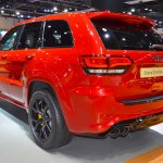 Jeep Grand Cherokee Trackhawk rear three quarters left side at 2017 Dubai Motor Show