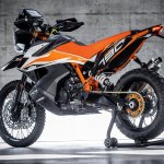 KTM 790 Adventure R Prototype studio shot rear left quarter