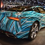 Lexus Fluidity of Hybrid Electric concept rear three quarters at 2017 Dubai Motor Show