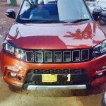 Modified Maruti Vitara Brezza with custom Jeep grille