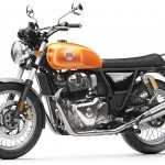 Royal Enfield Interceptor 650 Twin Orange Press shot front left quarter