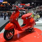 Vespa 946 RED front left quarter at 2017 Thai Motor Expo