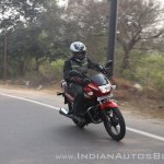 2018 Hero Super Splendor first ride review front right quarter action shot