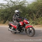 2018 Hero Super Splendor first ride review right side action shot