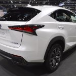2018 Lexus NX 300h F-Sport rear three quarters right side at 2017 Thai Motor Expo