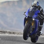 2018 Yamaha YZF-R1 Blue press action front left quarter