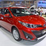 Accessorised Toyota Yaris Ativ front three quarters at 2017 Thai Motor Expo