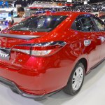 Accessorised Toyota Yaris Ativ rear three quarters at 2017 Thai Motor Expo