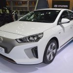 Hyundai Ioniq electric front three quarters at 2017 Thai Motor Expo