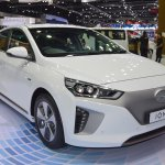 Hyundai Ioniq electric front three quarters right side at 2017 Thai Motor Expo
