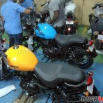 Royal Enfield Thunderbird 500X Orange Blue spied rear left quarter