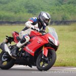 TVS Apache RR 310 first ride review action front right quarter